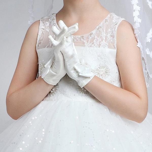 Elastic Satin Ctystal Wrist Length Glove_1