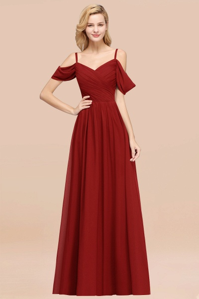 A-Line Chiffon V-Neck Spaghetti Straps Short-Sleeves Floor-Length Bridesmaid Dresses with Ruffles_48