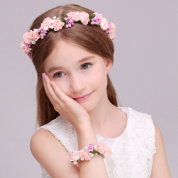 Silk Flower Ribbon Headbands with Wrist Corsage_3