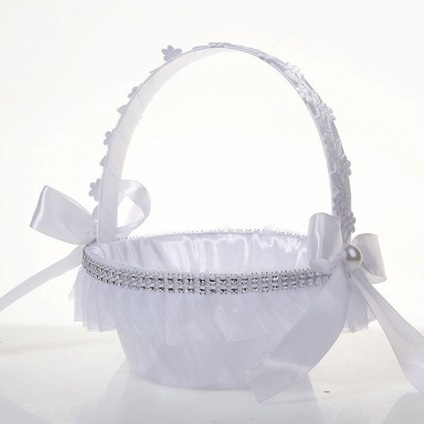Satin With Pearls Ribbon Flower Basket_2
