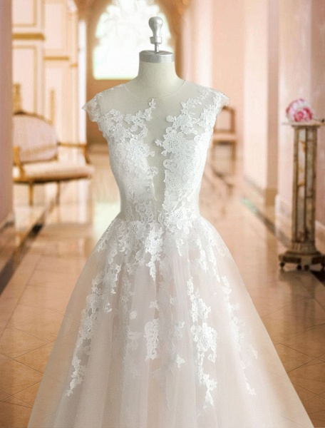 A-Line Wedding Dresses Jewel Neck Court Train Lace Tulle Sleeveless Sexy See-Through_6