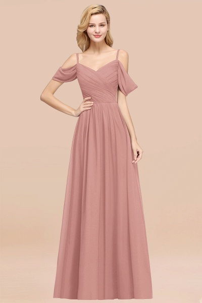 A-Line Chiffon V-Neck Spaghetti Straps Short-Sleeves Floor-Length Bridesmaid Dresses with Ruffles_50
