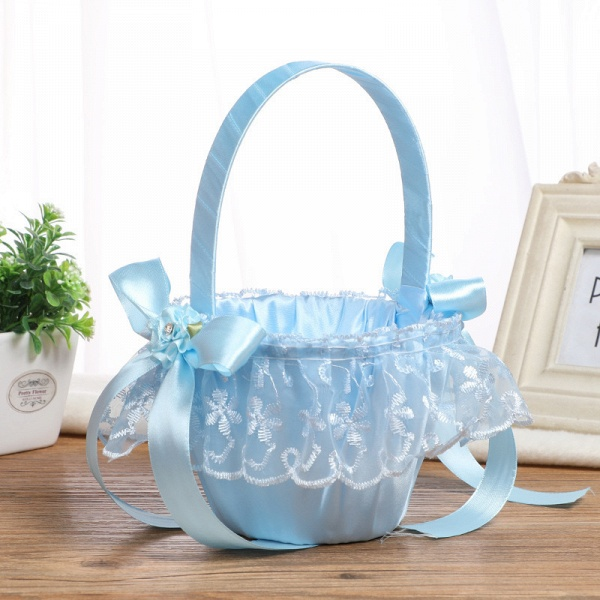 CPA2913 Flower Girl Lace Flower Basket With Bow_5