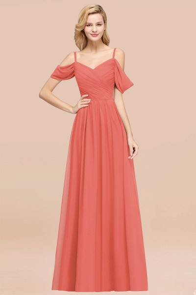 A-Line Chiffon V-Neck Spaghetti Straps Short-Sleeves Floor-Length Bridesmaid Dresses with Ruffles_7