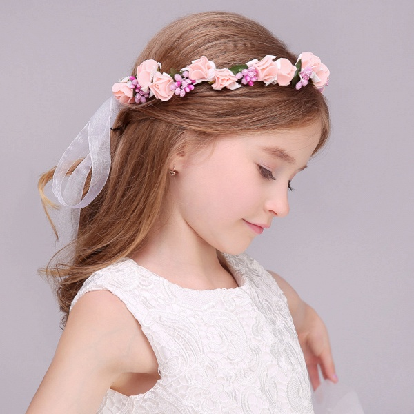 Silk Flower Ribbon Headbands with Wrist Corsage_2