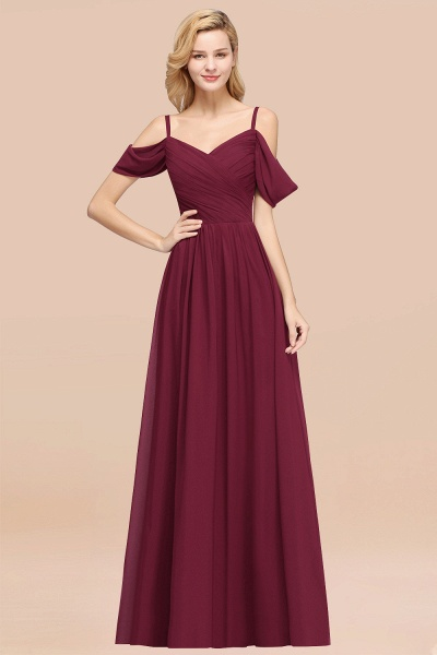 A-Line Chiffon V-Neck Spaghetti Straps Short-Sleeves Floor-Length Bridesmaid Dresses with Ruffles_44