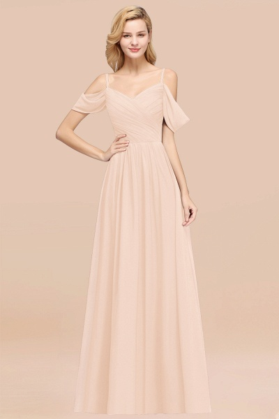 A-Line Chiffon V-Neck Spaghetti Straps Short-Sleeves Floor-Length Bridesmaid Dresses with Ruffles_5