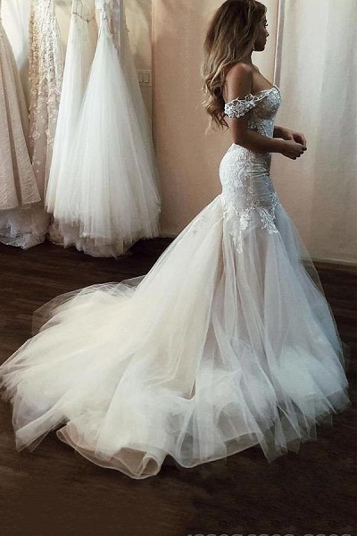 SD2080 Off Shoulder Lace Mermaid Wedding Dresses