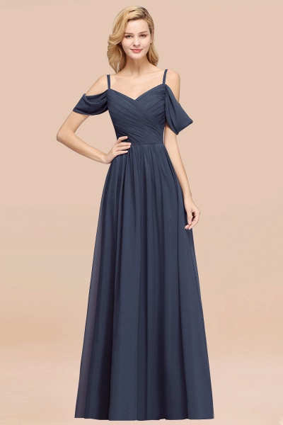 A-Line Chiffon V-Neck Spaghetti Straps Short-Sleeves Floor-Length Bridesmaid Dresses with Ruffles_39