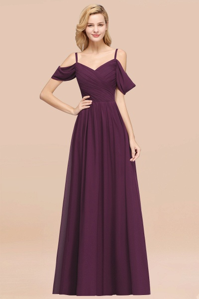 A-Line Chiffon V-Neck Spaghetti Straps Short-Sleeves Floor-Length Bridesmaid Dresses with Ruffles_20