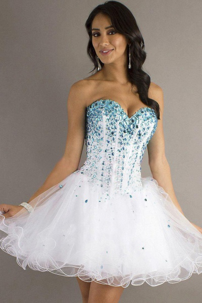 Cute Strapless Tulle Short Homecoming Dress_1