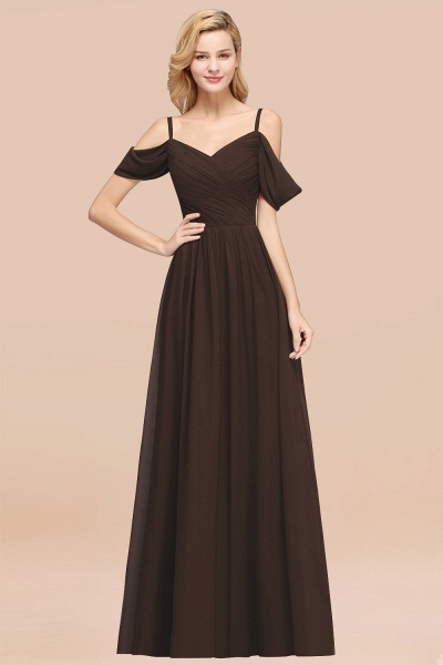A-Line Chiffon V-Neck Spaghetti Straps Short-Sleeves Floor-Length Bridesmaid Dresses with Ruffles_11