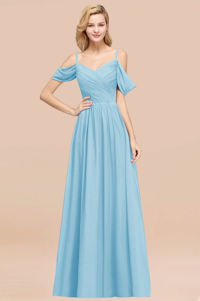 A-Line Chiffon V-Neck Spaghetti Straps Short-Sleeves Floor-Length Bridesmaid Dresses with Ruffles_23