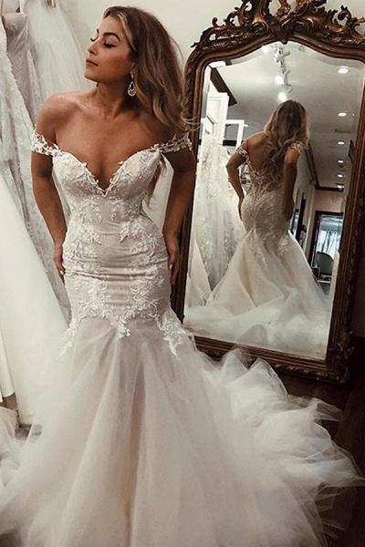 SD2080 Off Shoulder Lace Mermaid Wedding Dresses_1