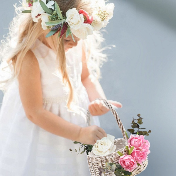 CPA2916 Flower Girl Satin Flower Basket With Bow_2