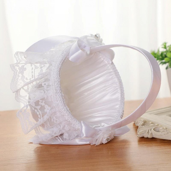 CPA2913 Flower Girl Lace Flower Basket With Bow_7