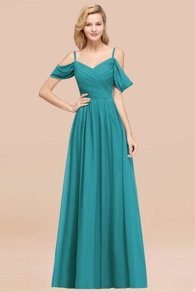 A-Line Chiffon V-Neck Spaghetti Straps Short-Sleeves Floor-Length Bridesmaid Dresses with Ruffles_32