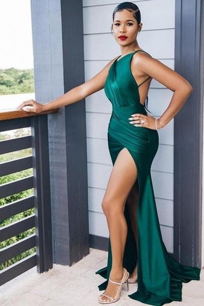 Dark Green Mermaid Side Split Bridesmaid Dresses Mixed Styles_5