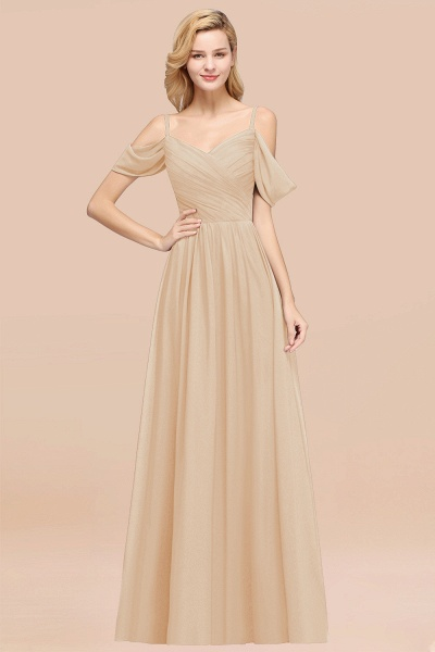 A-Line Chiffon V-Neck Spaghetti Straps Short-Sleeves Floor-Length Bridesmaid Dresses with Ruffles_14