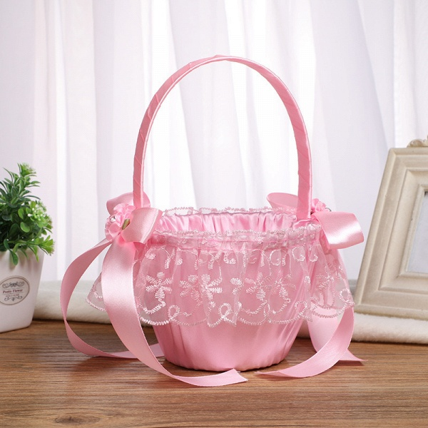 CPA2913 Flower Girl Lace Flower Basket With Bow_3