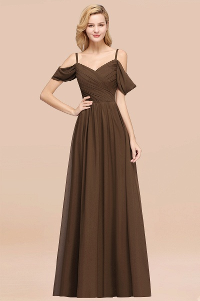 A-Line Chiffon V-Neck Spaghetti Straps Short-Sleeves Floor-Length Bridesmaid Dresses with Ruffles_12