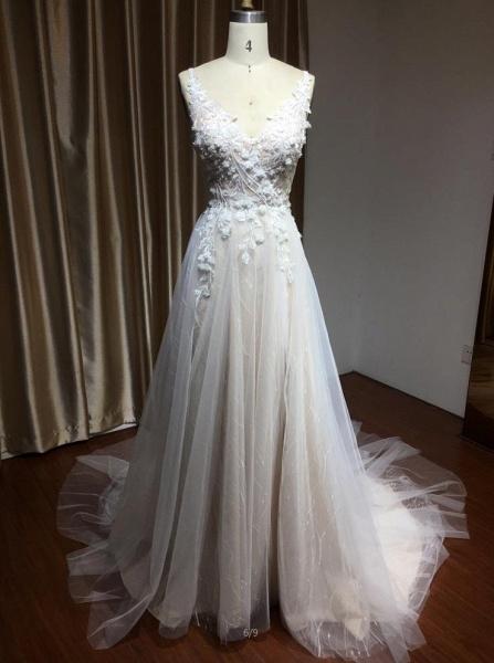 CPH235 Straps Floral Appliques A-line Side Split Backless Wedding Dress_4