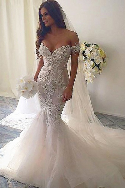 SD2081 Mermaid Style Chapel Train Off-the-Shoulder Tulle Wedding Dresses_1