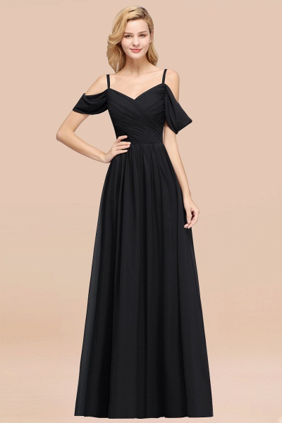 A-Line Chiffon V-Neck Spaghetti Straps Short-Sleeves Floor-Length Bridesmaid Dresses with Ruffles_29