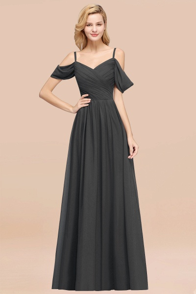 A-Line Chiffon V-Neck Spaghetti Straps Short-Sleeves Floor-Length Bridesmaid Dresses with Ruffles_46