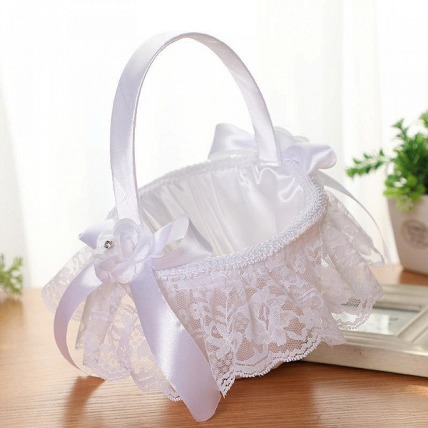 CPA2913 Flower Girl Lace Flower Basket With Bow_8