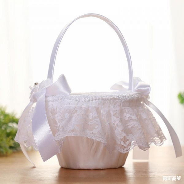 CPA2913 Flower Girl Lace Flower Basket With Bow_2