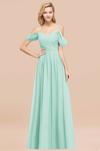 A-Line Chiffon V-Neck Spaghetti Straps Short-Sleeves Floor-Length Bridesmaid Dresses with Ruffles_36