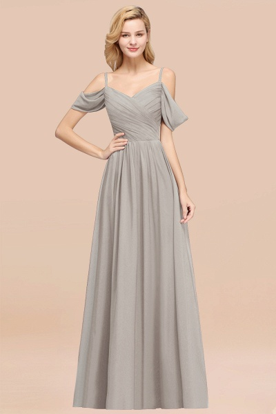 A-Line Chiffon V-Neck Spaghetti Straps Short-Sleeves Floor-Length Bridesmaid Dresses with Ruffles_30