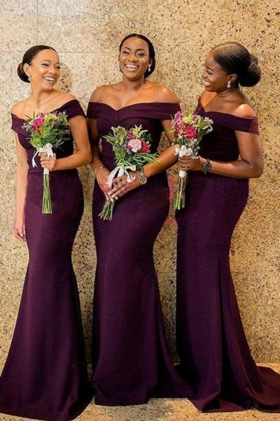 Mermaid Grape Off The Shoulder Bridesmaid Dress Plus Size_1