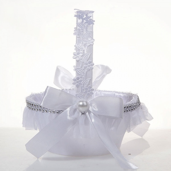 Satin With Pearls Ribbon Flower Basket_3