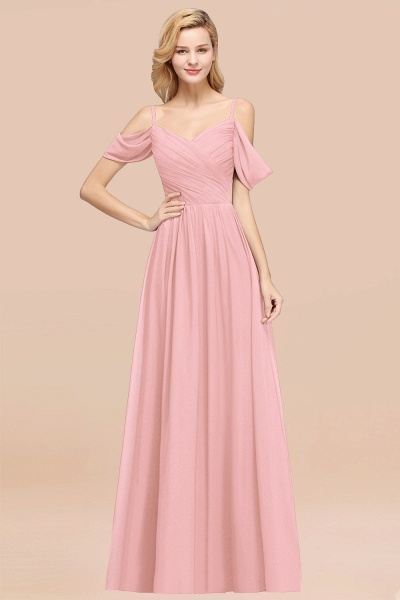 A-Line Chiffon V-Neck Spaghetti Straps Short-Sleeves Floor-Length Bridesmaid Dresses with Ruffles_4