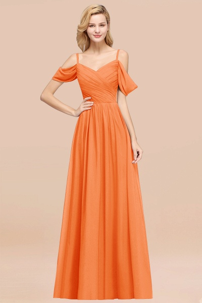 A-Line Chiffon V-Neck Spaghetti Straps Short-Sleeves Floor-Length Bridesmaid Dresses with Ruffles_15