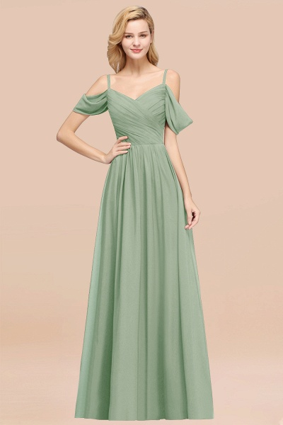 A-Line Chiffon V-Neck Spaghetti Straps Short-Sleeves Floor-Length Bridesmaid Dresses with Ruffles_41