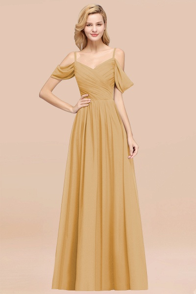 A-Line Chiffon V-Neck Spaghetti Straps Short-Sleeves Floor-Length Bridesmaid Dresses with Ruffles_13
