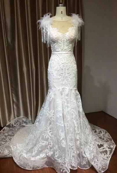CPH233 Mermaid Further Tassel Appliques Open Back Wedding Dress_2