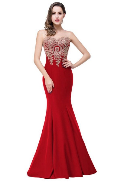 Mermaid Floor-Length Sheer Prom Dresses with Rhinestone Appliques_4