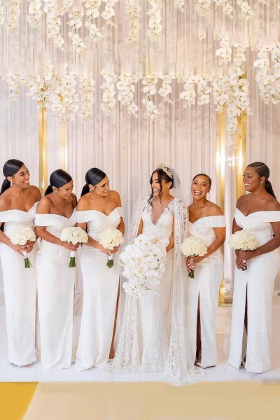 White Simple Off-the-shoulder V-neck Slit Bridesmaid Dresses