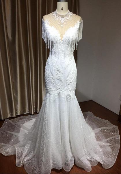 CPH231 Shimmy Mermaid High Neck Beadings Tassel Wedding Dress_1