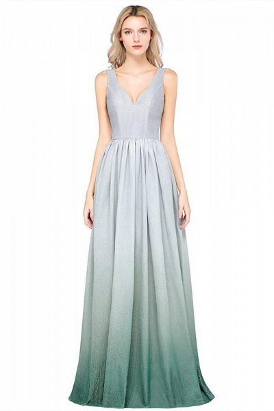 A-line Ruffles V-Neck Long Evening Dress_1