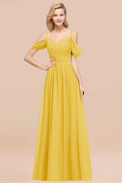 A-Line Chiffon V-Neck Spaghetti Straps Short-Sleeves Floor-Length Bridesmaid Dresses with Ruffles_17
