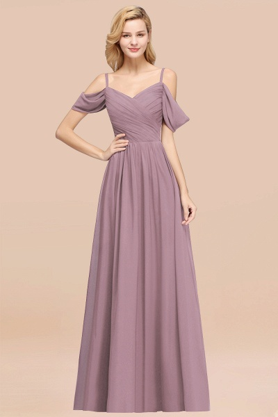 A-Line Chiffon V-Neck Spaghetti Straps Short-Sleeves Floor-Length Bridesmaid Dresses with Ruffles_43