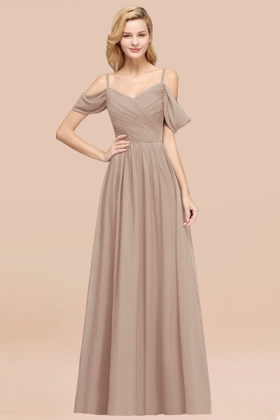 A-Line Chiffon V-Neck Spaghetti Straps Short-Sleeves Floor-Length Bridesmaid Dresses with Ruffles_16