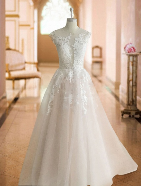 A-Line Wedding Dresses Jewel Neck Court Train Lace Tulle Sleeveless Sexy See-Through_4