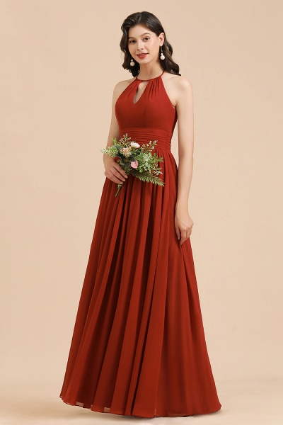 BM2004 Halter A-line Pleated Chiffon Bridesmaid Dress