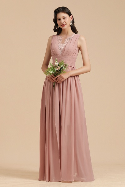 BM2006 Elegant A-line Straps Dusty Rose Lace Tulle Long Bridesmaid Dress